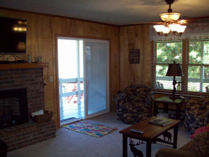 Here tis living room and sliding doors to deck