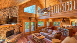 Aerial Ridge, Great Room with Fireplace, Loft and View