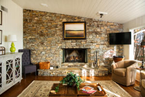 Living Room with rock fireplace